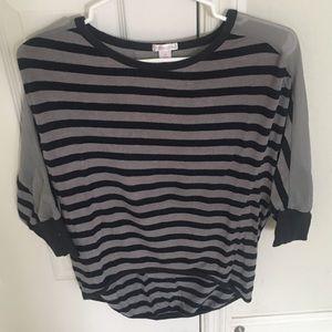 Xhilaration sheer shoulder top striped 3/4 sleeve